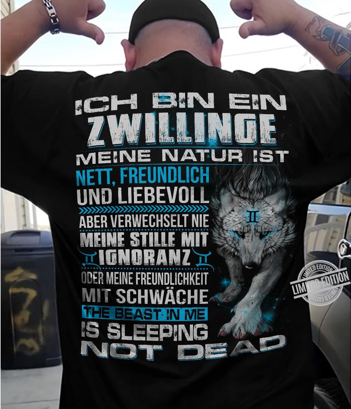 Ich Bin Ein Zwillinge Meine Natur Ist The Beast In Me Is Sleeping Not Dead Shirt