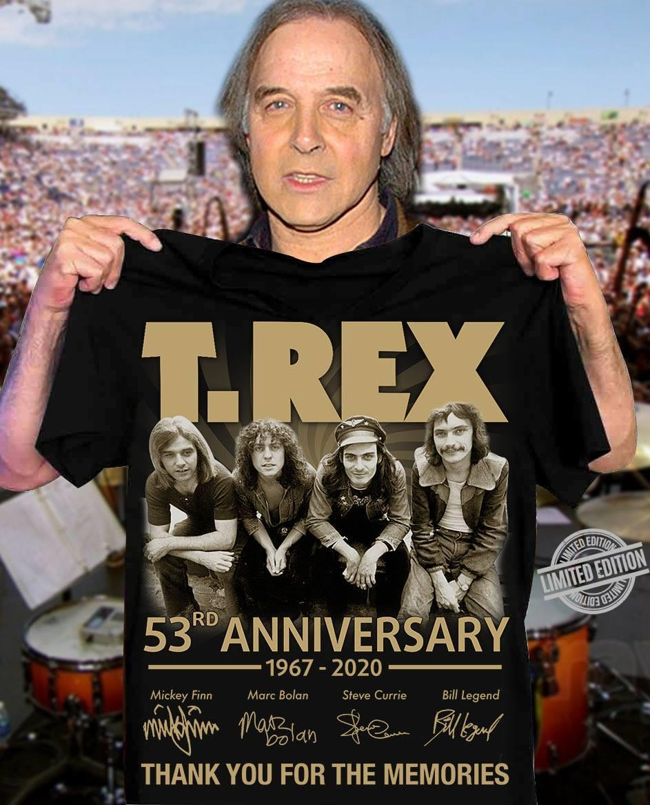 T-Rex 53rd Anniversary 1967-2020 Thank You For The Memories Shirt