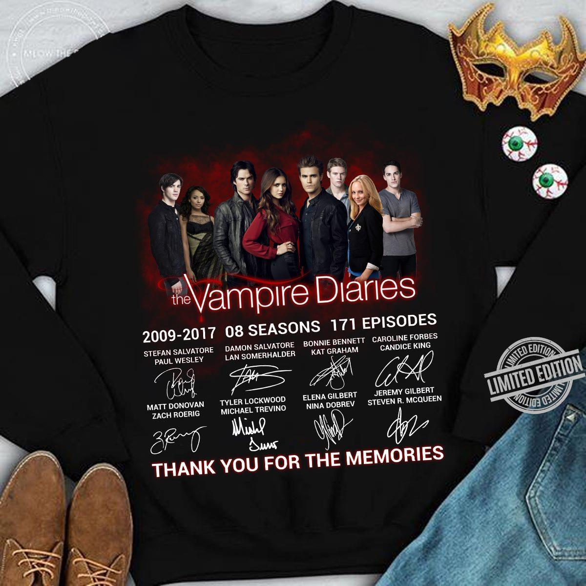 The Vampire Diaries 2009 2017 08 Seasons 171 Episodes Thank You For The Memories Shirt